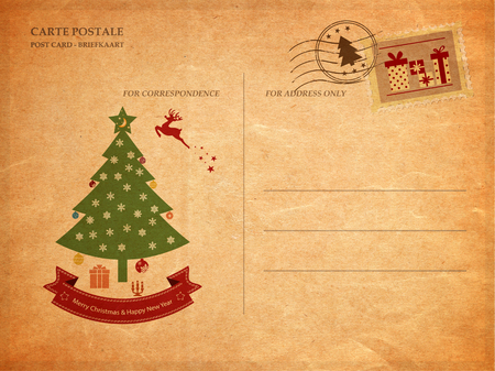 postcard: Postal de la vendimia para la Navidad, textura de papel viejo Foto de archivo