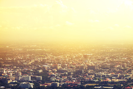 viewpoints: Vintage photo of Chiang Mai City Thailand viewpoint at sunset with retro filter effect Stock Photo