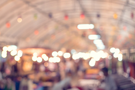 shopping mall: blurred background of market, vintage filter color Stock Photo