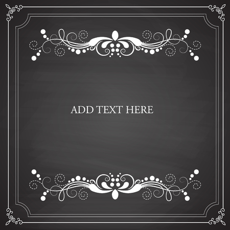 elegant white: Vintage frames, blank black chalkboard design. Vector Illustration eps10