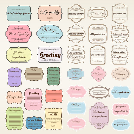 Vector van vintage frame set, lege retro badges en labels. Illustratie eps10 elementen ontwerp. Stock Illustratie