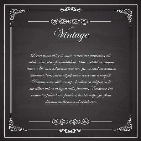 Leeg zwart krijtbord design.Vintage frames, Vector illustratie eps10