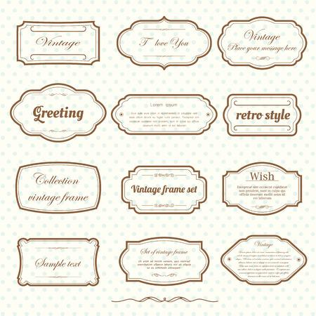 Vector of vintage frame set on retro background. Calligraphic design elements.