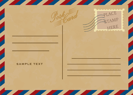 air mail: Vintage poscard, vector design