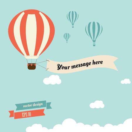 libros volando: globo de aire caliente de la vendimia con la cinta para su mensaje - diseño vectorial