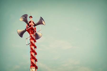 public relations: Horn speaker for public relations sign symbol, vintage color