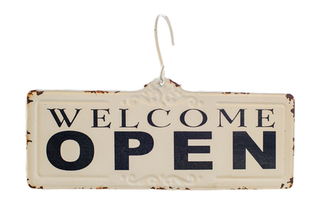 open sign: Welcome open sign isolate. vintage style Stock Photo