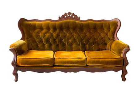 white sofa: Vintage brown sofa isolated on white