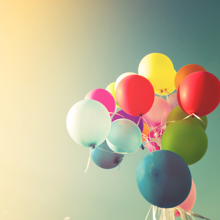 filters: Vintage multicolored balloons of birthday party.  retro filter effect