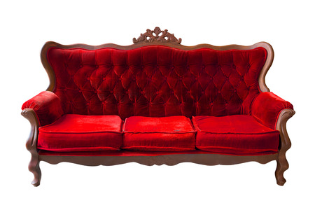 red sofa: Vintage red sofa isolated on white Stock Photo