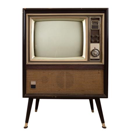 Vintage television - stary telewizor izolować na białym, retro technologii