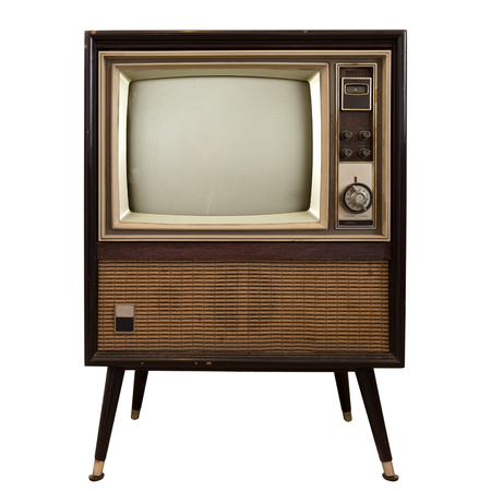 Vintage tv - gamla TV isolera på vit, retro teknik