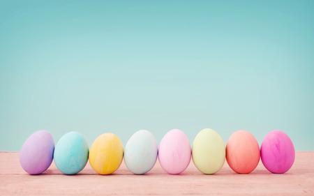 textured background: Vintage pastel color of Easter eggs.
