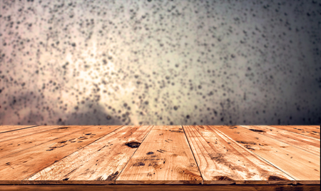wooden window: Empty wood table top ready for your product display montage. with rain drop background.