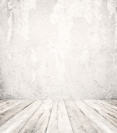 piso piedra: Empty a white interior of vintage room - gray grunge concrete wall and old wood floor. Realistic 3d as perfect background for your concept or project.