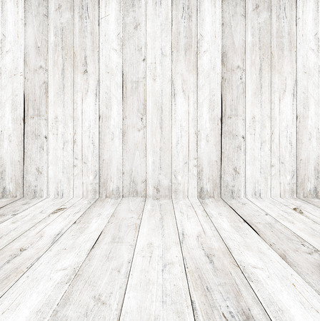 white wood floor: Empty a white interior of vintage room - gray wooden wall and old wood floor. Realistic 3d as perfect background for your concept or project. Stock Photo