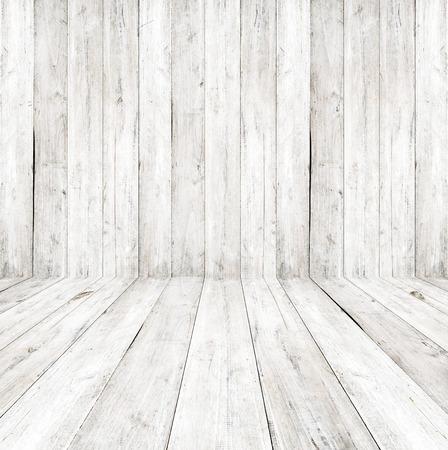 Vacíe un interior blanco del sitio de la vendimia - pared de madera gris y suelo de madera vieja. 3D realistas como fondo perfecto para su concepto o proyecto.