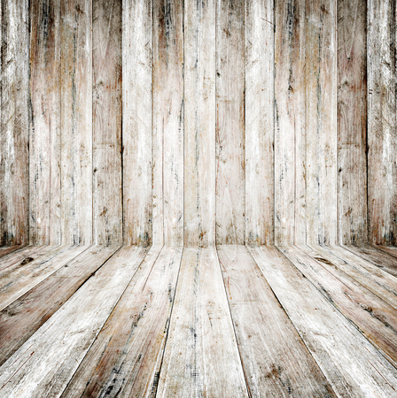 pale wood: Empty grunge interior of vintage room - old wooden wall and wood floor. Realistic 3d as perfect background for your concept or project.
