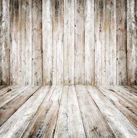 Interno vuoto del grunge della stanza dell'annata - vecchio pavimento di legno e di legno della parete. 3d realistici come sfondo perfetto per il tuo concetto o progetto.