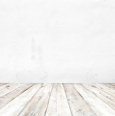 interior wall: Empty a white interior of vintage room - gray grunge concrete wall and old wood floor. Realistic 3d as perfect background for your concept or project.