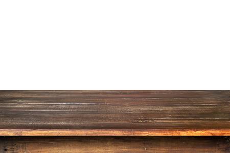 空のビンテージ パイン木のテーブル、製品の準備ができての上部は、モンタージュを表示します。白い背景。 写真素材