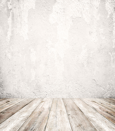 Empty a white interior of vintage room - gray grunge concrete wall and old wood floor. Realistic 3d as perfect background for your concept or project.