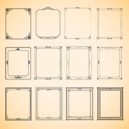 diseño: Conjunto de diseño del vector del marco de la vendimia