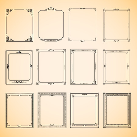 Set of vintage frame vector design