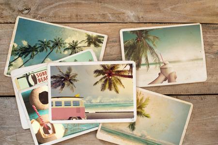 tabla de surf: álbum de fotos del verano en la mesa de madera. foto instantánea de la cámara polaroid - estilo vintage y retro