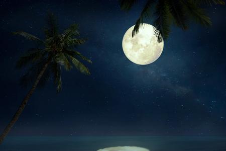 noche y luna: Hermosa playa tropical con la Vía Láctea estrellas en cielos de la noche, la luna llena - ilustraciones del estilo retro con el tono de color de la vendimia (elementos de esta imagen proporcionada por la NASA luna)