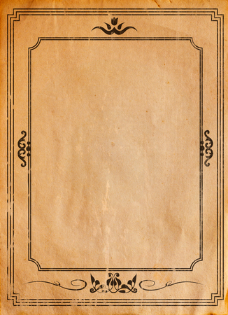 old vintage: Old paper with patterned vintage frame - blank for your design