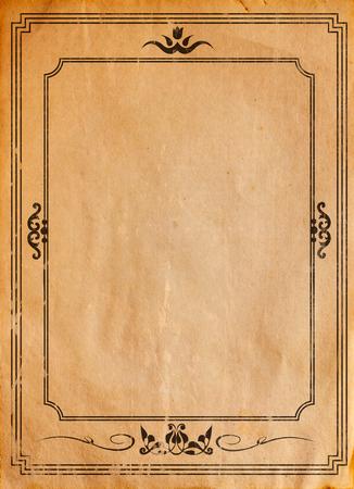 old paper: Old paper with patterned vintage frame - blank for your design