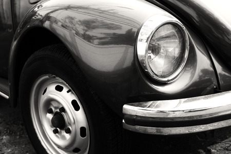 black car: Headlight lamp vintage car - black and white color effect style