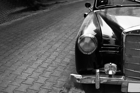 black car: Headlight lamp classic car - black and white color effect style