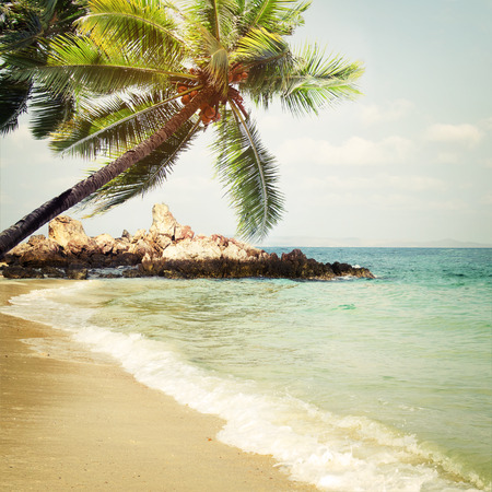 blue sea: Tropical beach in summer - nature background. Vintage and retro filter effect