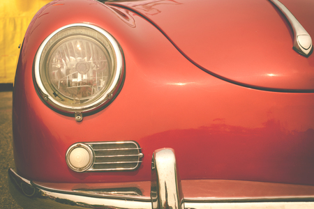 Headlight lamp of vintage car - retro color effect style Stock Photo