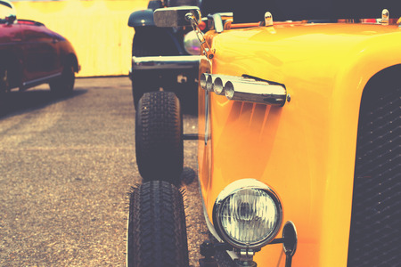 formula car: Headlight lamp of classic formula car - retro color effect style Stock Photo