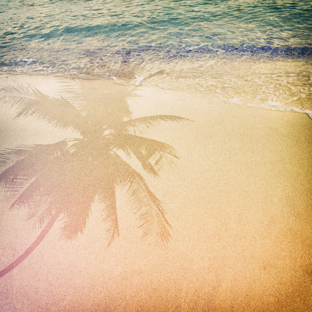 free backgrounds: Palm tree shadow on the sandy beach with ocean wave - free space. vintage color tone effect