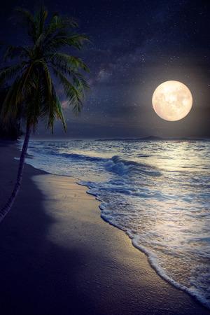 Mooie fantasy tropisch strand met Melkweg ster in nachtelijke hemel, volle maan - Retro style artwork met vintage kleurtoon (Elementen van deze afbeelding maan geleverd door NASA)