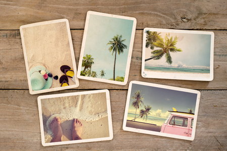 old album: Photo album remembrance and nostalgia journey in summer surfing beach trip on wood table. instant photo of vintage camera - vintage and retro style