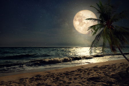 Belle fantastique plage tropicale avec la Voie Lactée étoiles dans le ciel de nuit, la pleine lune - Rétro illustration de style avec ton de couleur vintage (éléments de cette image de la lune fournie par la NASA)
