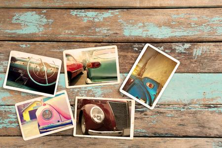 Classic car photo album on wood table. instant photo of retro camera - vintage styles Zdjęcie Seryjne