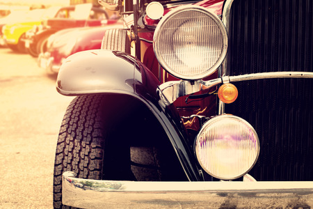 old car: Classic cars in a row - vintage retro color effect style