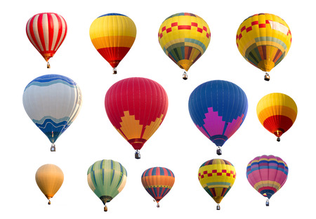 multi colors: Set of colorful (multi colors) hot air balloon isolated on white background