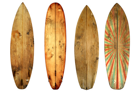 60s: Vintage surfboard isolated on white - Retro styles 60s Stock Photo