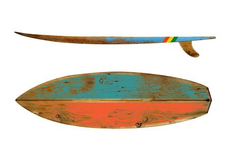 surfboard fin: Vintage surfboard isolated on white - Retro styles 60s Stock Photo