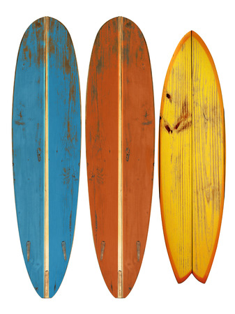 60's: Vintage surfboard isolated on white - Retro styles 60s Stock Photo