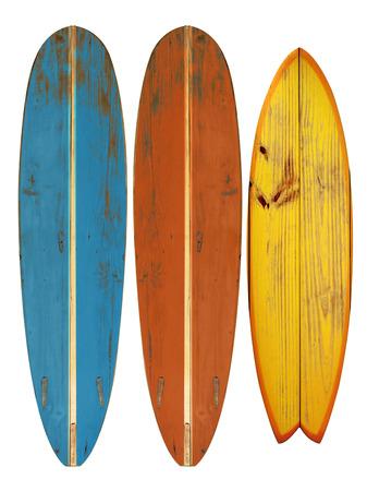 Weinlese-Surfbrett isoliert auf weiß - Retro-Stil der 60er Jahre