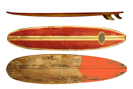 Vintage surfboard isolated on white - Retro styles 60's Standard-Bild