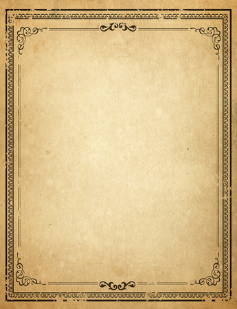 paper old: Old paper with patterned vintage frame - blank for your design